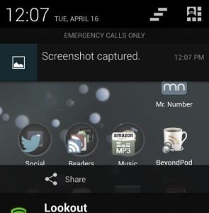 Android screenshot in notification pane