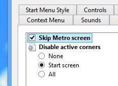 Classic Shell skip Metro screen setting