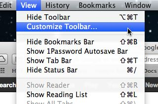 Mac customize toolbar option