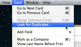 Contacts look for duplicates option