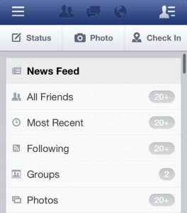 Facebook for iPhone filter news feed