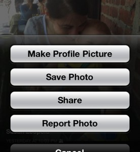 Facebook for iPhone save photo