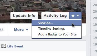 Facebook timeline view as setting Facebook tip: View your timeline as others see it