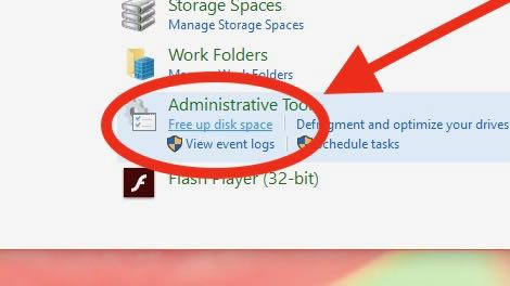 Free up disk space link in Windows Control Panel