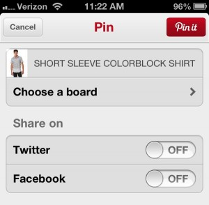 Pinterest for iPhone pin it screen