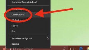 Windows 10 Control Panel in Start menu