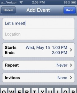iPhone Add Event screen 249x300 iPhone/iPad tip: Create a calendar event or contact directly from email