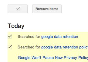 Delete individual Google Web History items Google tip: How to clear the saved searches in your Web History