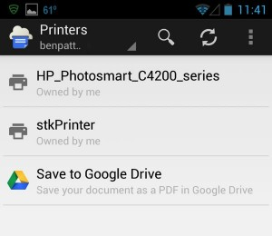 Google Cloud Print select printer Android