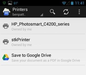 Google Cloud Print select printer Android