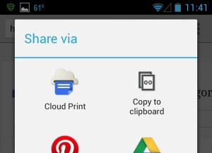 Google Cloud Print share screen