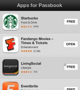 List of Passbook apps on iPhone