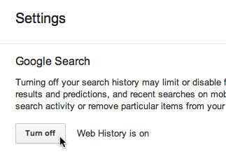 Turn off Google Web History button