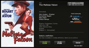 Vudu disc-to-digital Maltese Falcon