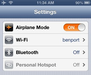 iPhone Airplane Mode settings 300x248 Android/iPhone tip: Turn on airplane mode and Wi Fi at the same time