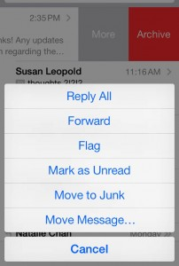 iOS 7 Mail More button options