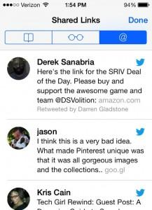 iOS 7 Safari Shared Links