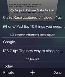 iOS 7 Safari cloud tabs