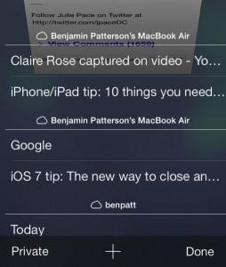 iOS 7 Safari cloud tabs