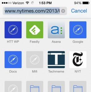 iOS 7 Safari favorites