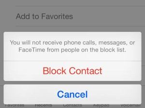 iOS Block a contact confirmation