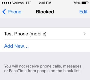 iOS list of blocked contacts
