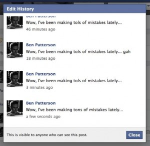 Facebook post edit history