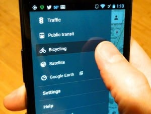 Google Maps for Android menu