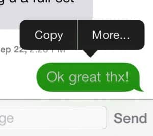 iOS 7 More button in Messages app
