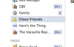 facebook friends list - Facebook Close Friends list