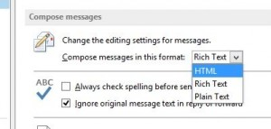 Outlook Rich Text settings