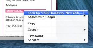 Safari inline map menu