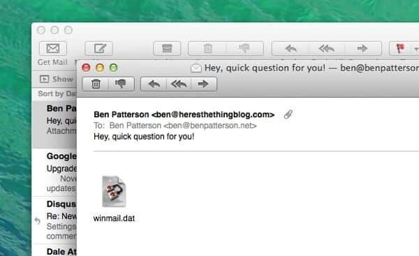 "Mac tip: Why do Outlook mail messages arrive as ""winmail.dat"" attachments?"