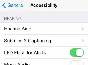 iPhone LED flash alert setting