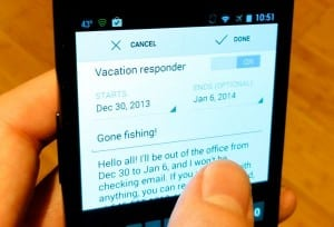Gmail for Android vacation responder settings