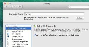 Mac Remote Disc settings