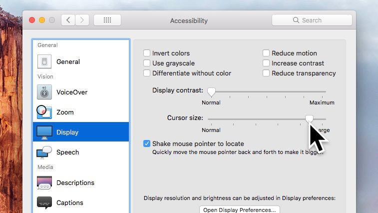 Mac mouse cursor size setting