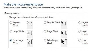 Windows cursor size settings