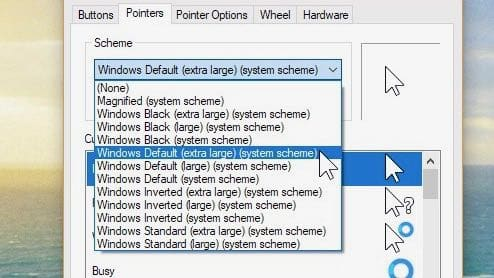 Windows mouse cursor scheme settings