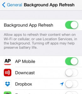 iOS 7 background app refresh settings