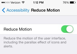 iOS reduce motion setting