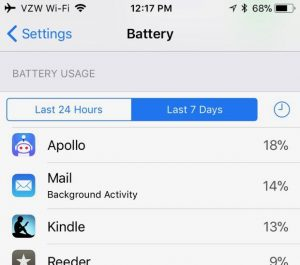 iPhone app battery usage