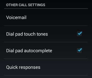 Android dial pad autocomplete settings