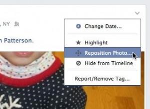 Facebook photo reposition tool