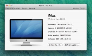 Mac OS X system info screen