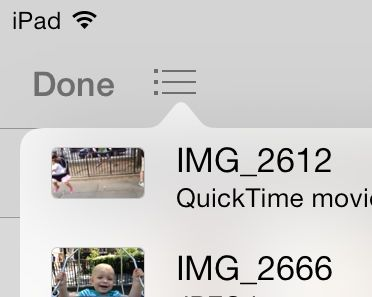 iOS 7 Messages app photo list button