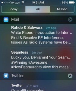 iOS 7 Notification Center. iOS alerts, pop-ups, and badges.