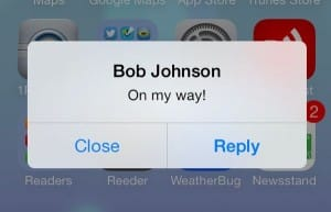 iOS 7 alert pop-up. iOS alerts, pop-ups, and badges.