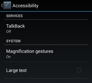 Android screen magnification setting