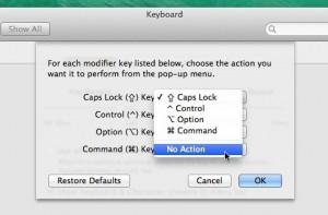 Mac Caps Lock settings